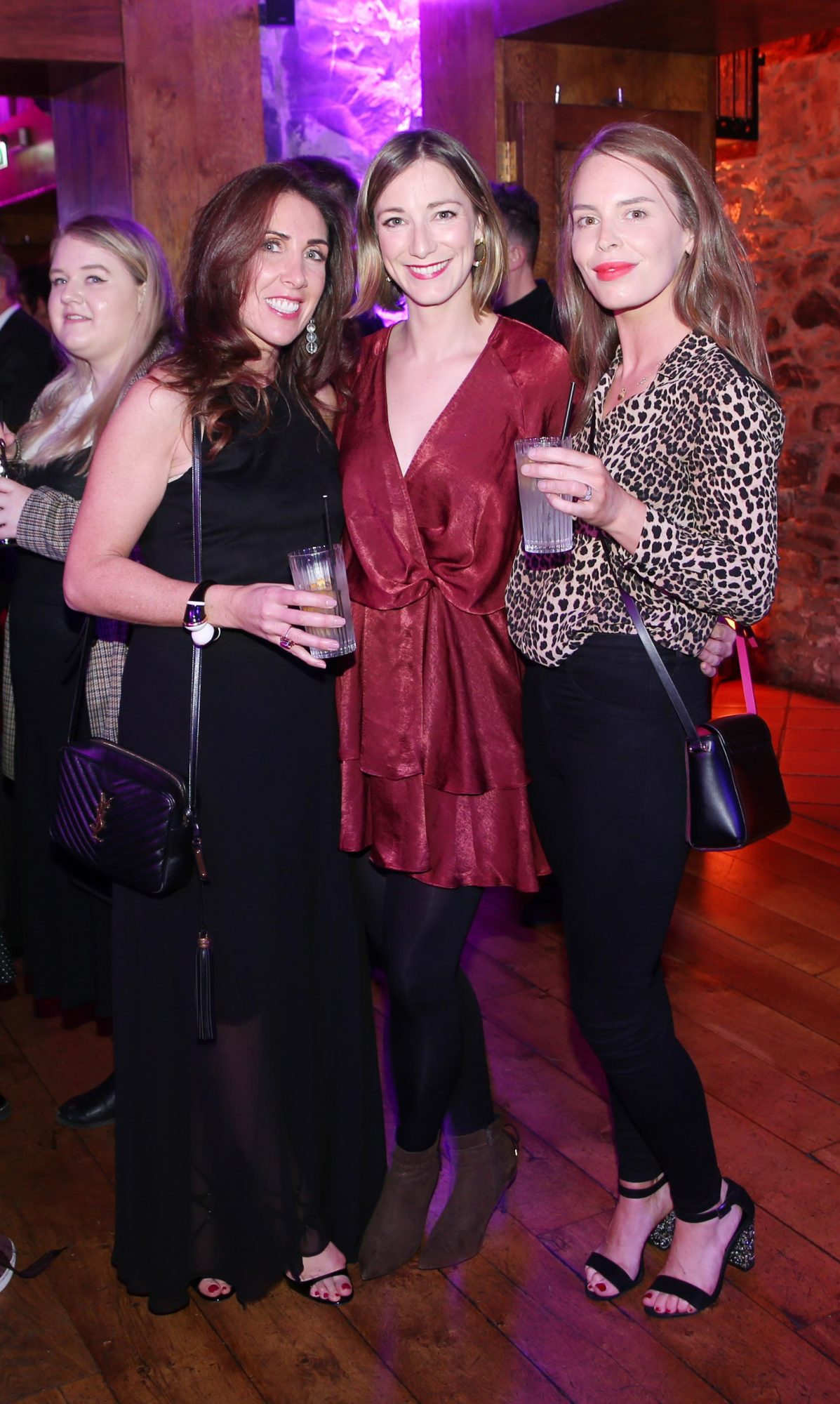 Nicola McBrinn, Liz McBrinn and Ava Devlin pictured at the exclusive global launch of Wilde Irish Gin at The Cellar Bar last night. Photograph: Leon Farrell / Photocall Ireland