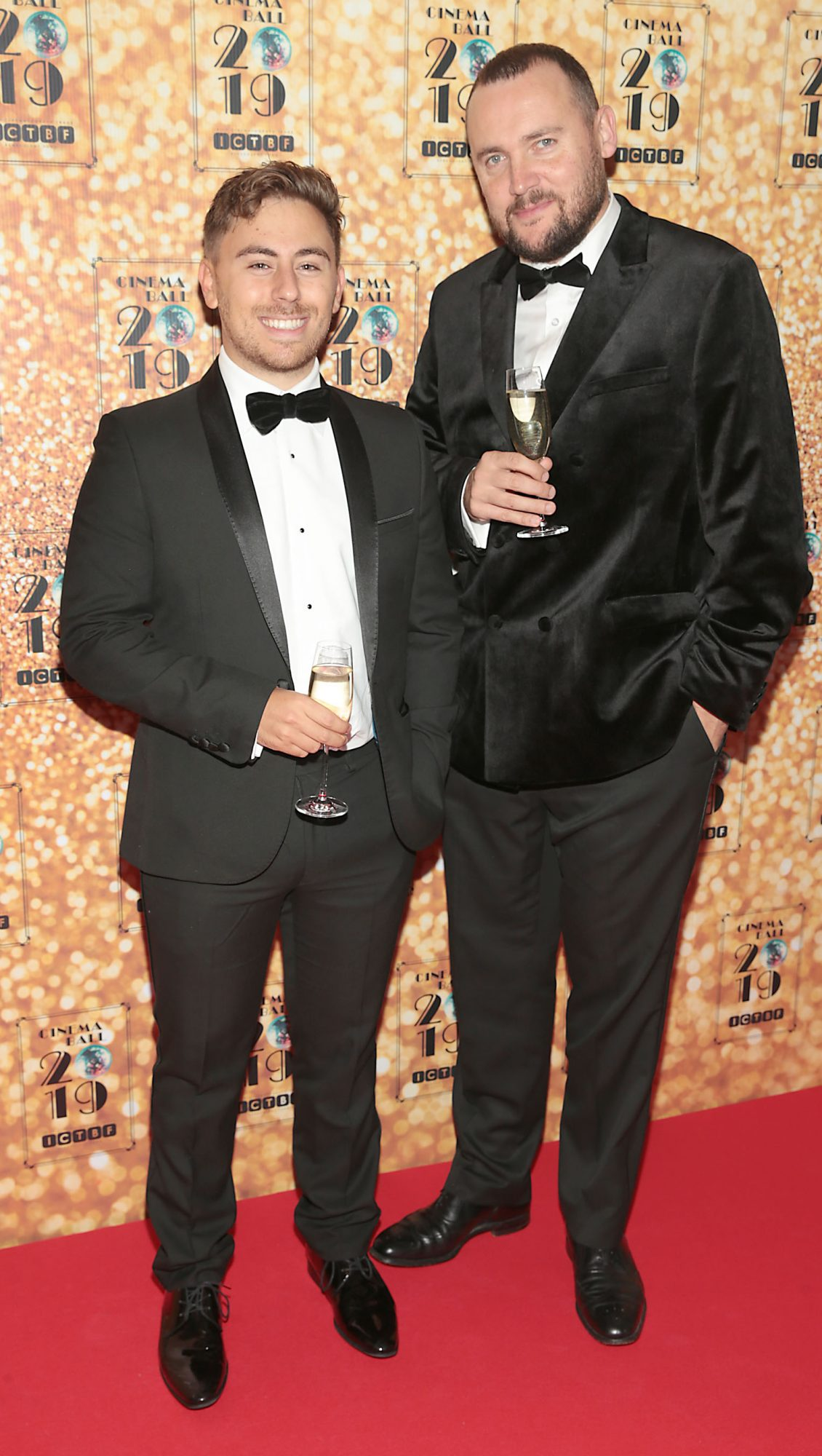 Ollie Segal and Ben Sawyer pictured at the Irish Cinema Ball 2019 in aid of the Irish Cinematograph Trade Benevolent Fund (ICTBF ) at The Shelbourne Hotel,Dublin This year's theme was the iconic 'Studio 54'. Pic: Brian McEvoy.