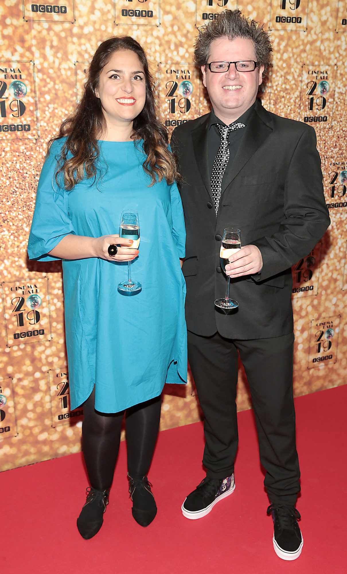 Jenny Sharif and Dave O Callaghan  pictured at the Irish Cinema Ball 2019 in aid of the Irish Cinematograph Trade Benevolent Fund (ICTBF ) at The Shelbourne Hotel, Dublin This year's theme was the iconic 'Studio 54'. Pic: Brian McEvoy.