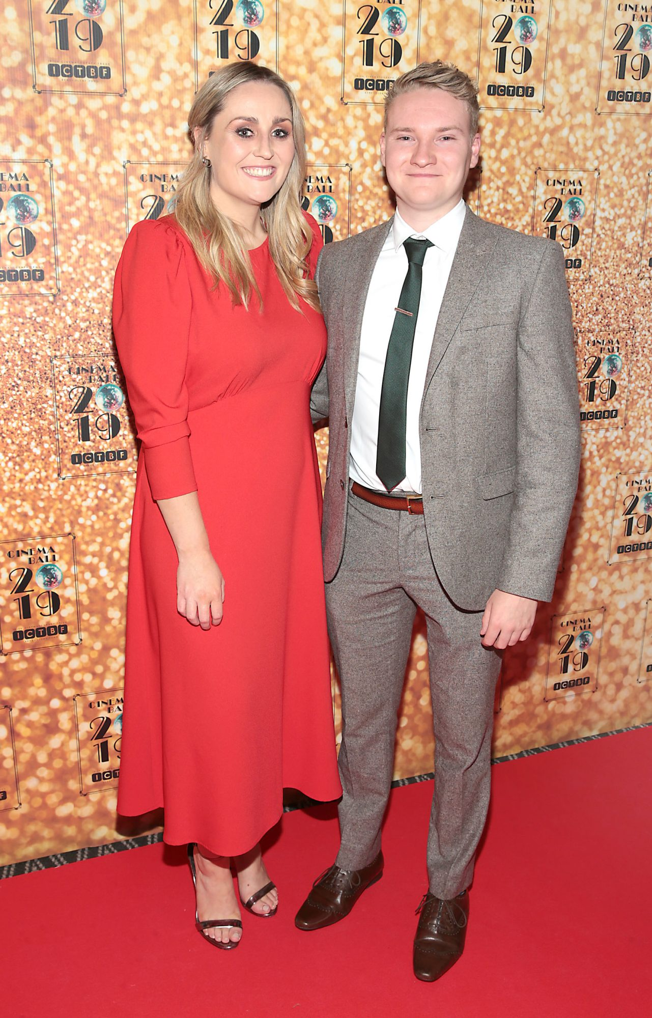 Ciara Kennedy and Daniel Harnett  pictured at the Irish Cinema Ball 2019 in aid of the Irish Cinematograph Trade Benevolent Fund (ICTBF ) at The Shelbourne Hotel, Dublin This year's theme was the iconic 'Studio 54'. Pic: Brian McEvoy.