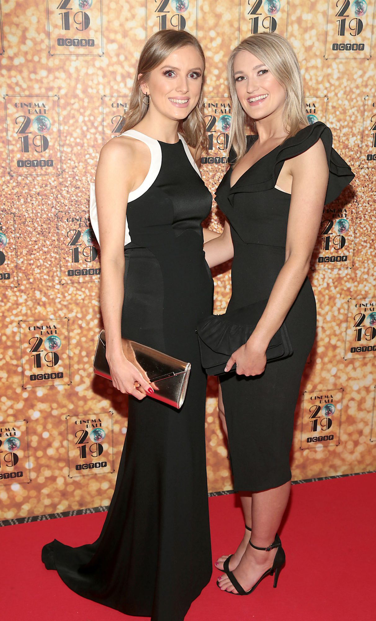 Kim Baker and Gina Byrne  pictured at the Irish Cinema Ball 2019 in aid of the Irish Cinematograph Trade Benevolent Fund (ICTBF ) at The Shelbourne Hotel, Dublin This year's theme was the iconic 'Studio 54'. Pic: Brian McEvoy.