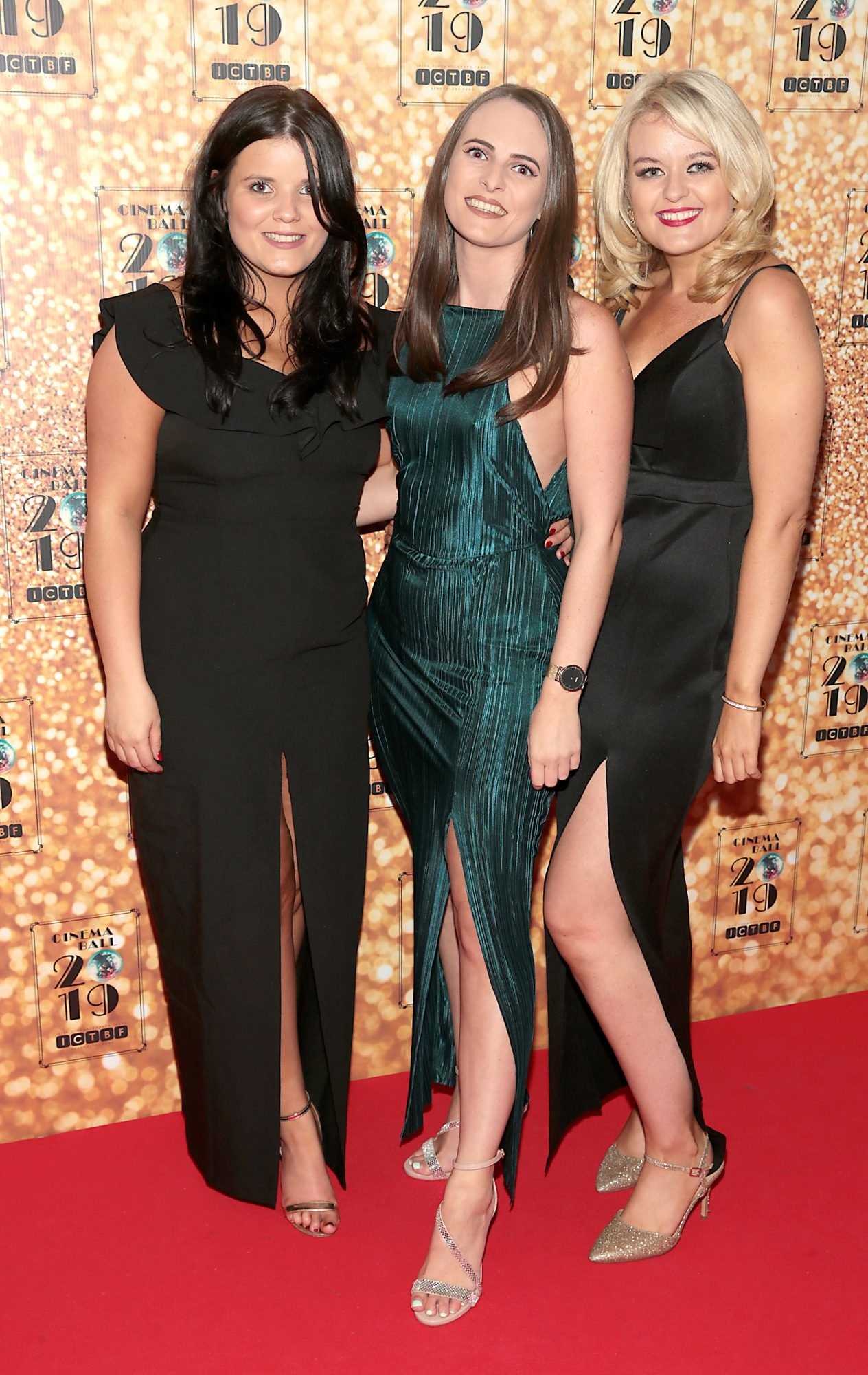 Karena Twohig, Megan Daley and Holly Mullane pictured at the Irish Cinema Ball 2019 in aid of the Irish Cinematograph Trade Benevolent Fund (ICTBF ) at The Shelbourne Hotel, Dublin This year's theme was the iconic 'Studio 54'. Pic: Brian McEvoy.