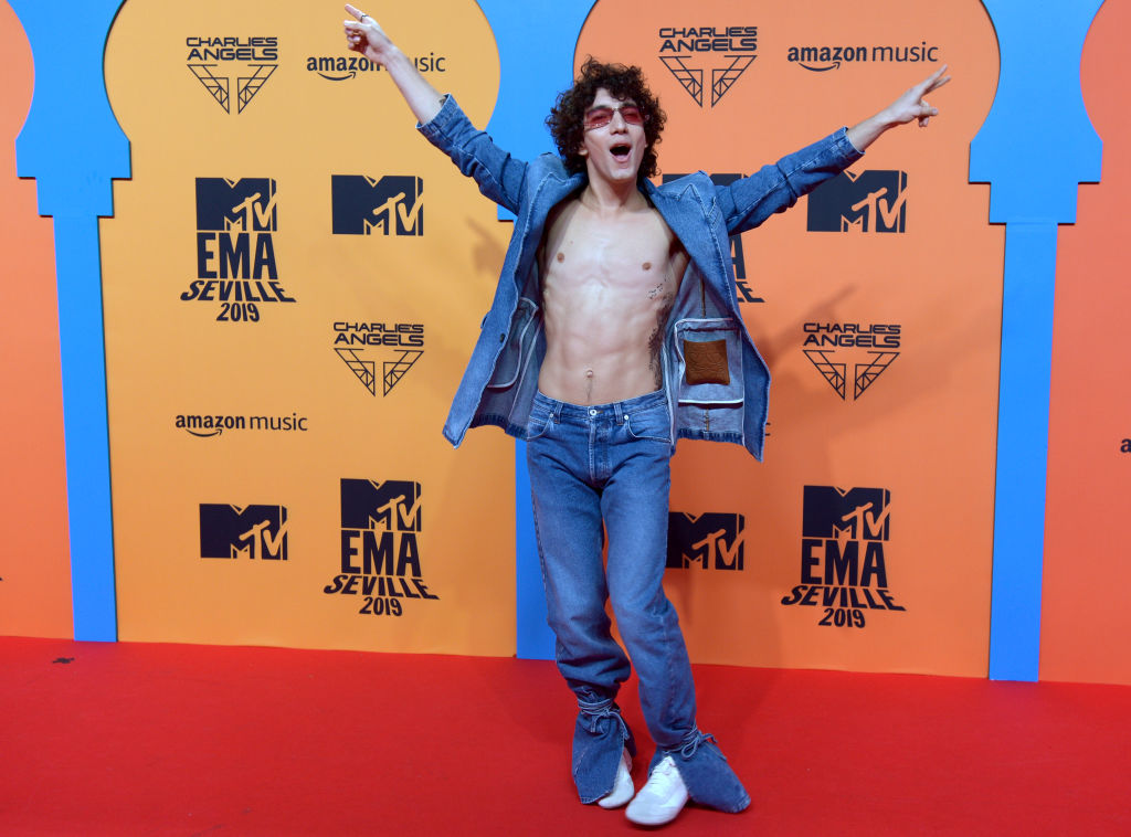 Chilean actor Jorge Lopez Astorga poses on the red carpet upon his arrival to the MTV Europe Music Awards at the FIBES Conference and Exhibition Centre of Seville on November 3, 2019. (Photo by CRISTINA QUICLER/AFP via Getty Images)