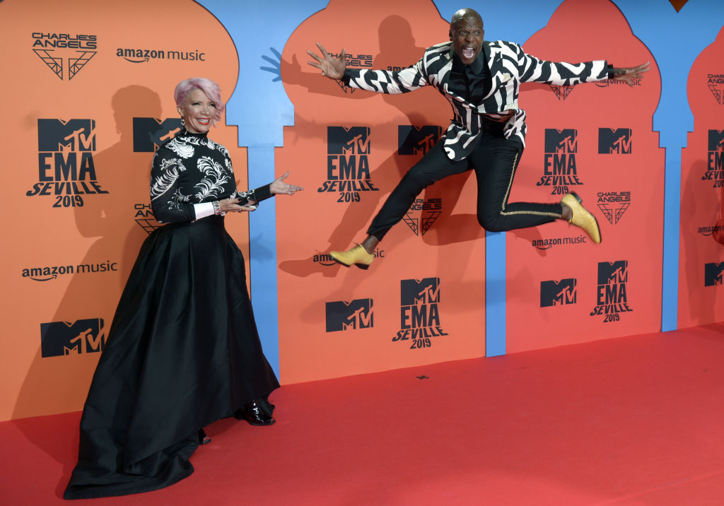 TOPSHOT - US actor Terry Crews (C) poses on the red carpet upon his arrival to the MTV Europe Music Awards at the FIBES Conference and Exhibition Centre of Seville on November 3, 2019.  (Photo by CRISTINA QUICLER/AFP via Getty Images)