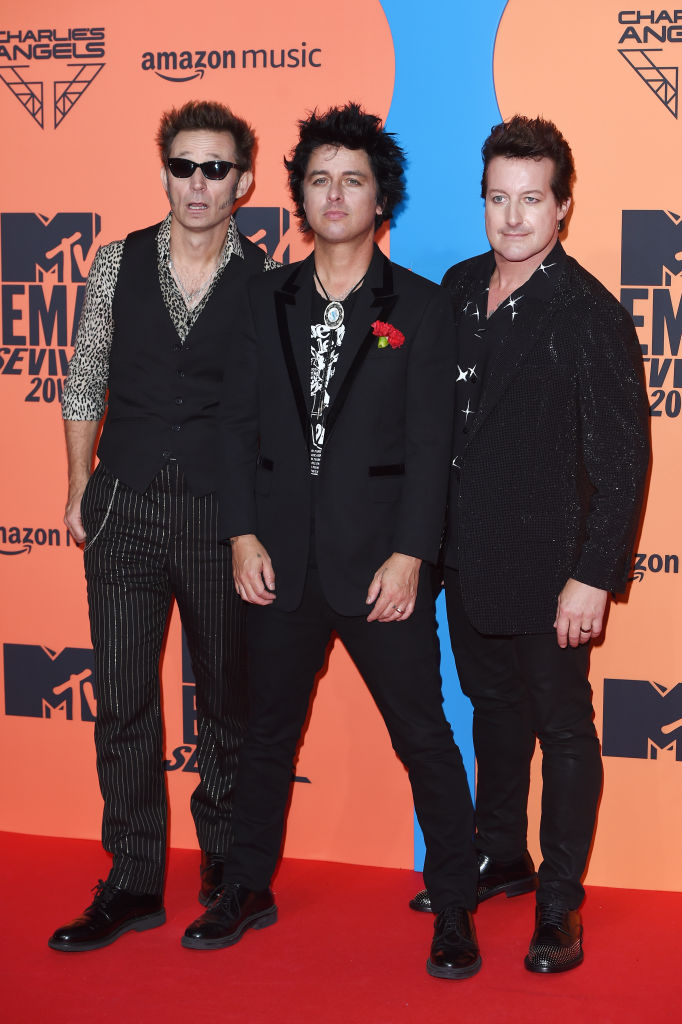 (L-R) Mike Dirnt, Billie Joe Armstrong and Tre Cool of Green Day attend the MTV EMAs 2019 at FIBES Conference and Exhibition Centre on November 03, 2019 in Seville, Spain. (Photo by Kate Green/Getty Images for MTV)
