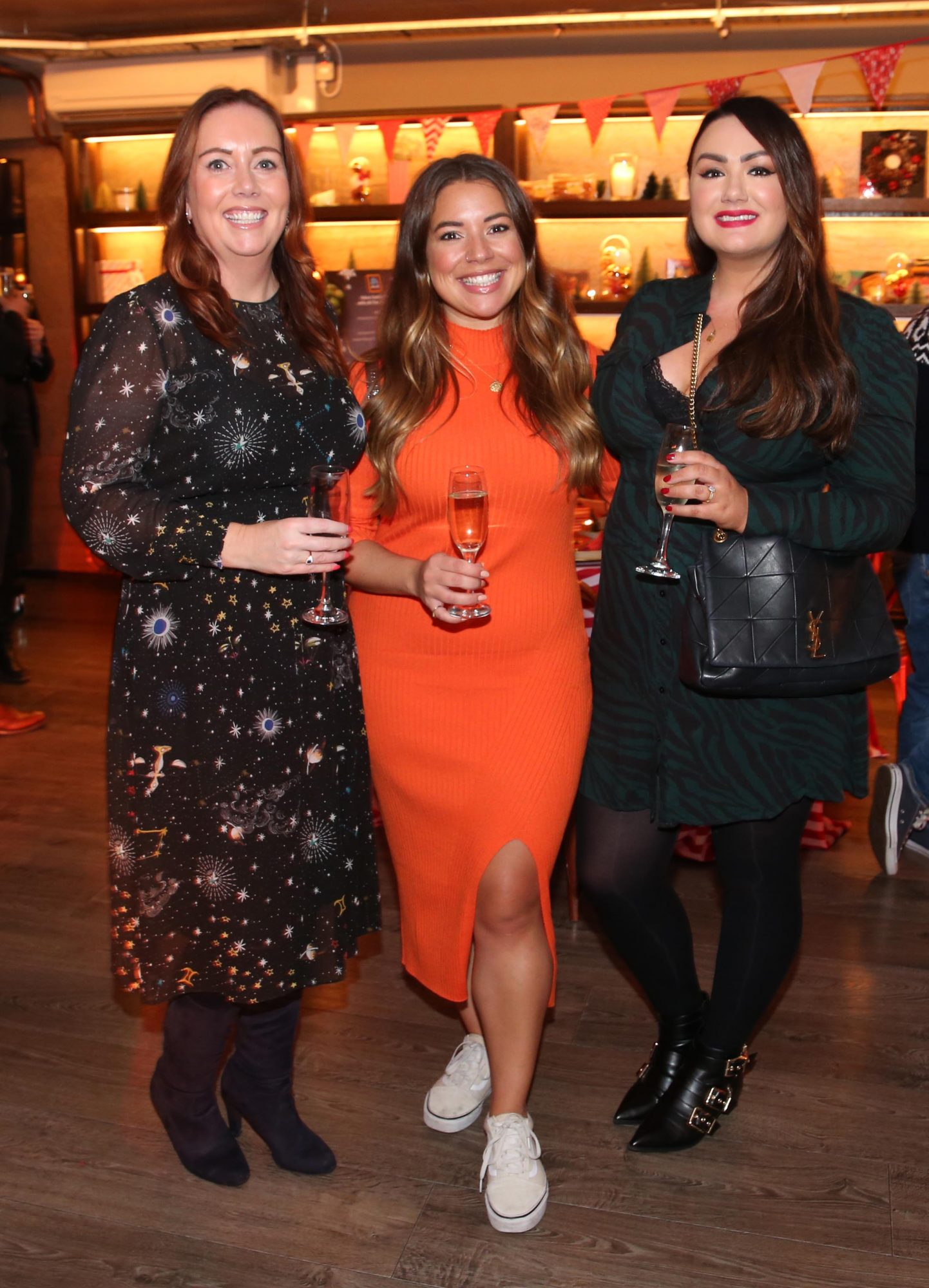 Linda Maher, Nadia El Ferdaoussi and Vicki Notaro pictured at the Aldi Amazing Christmas Showcase 2019. Photograph: Leon Farrell / Photocall Ireland
