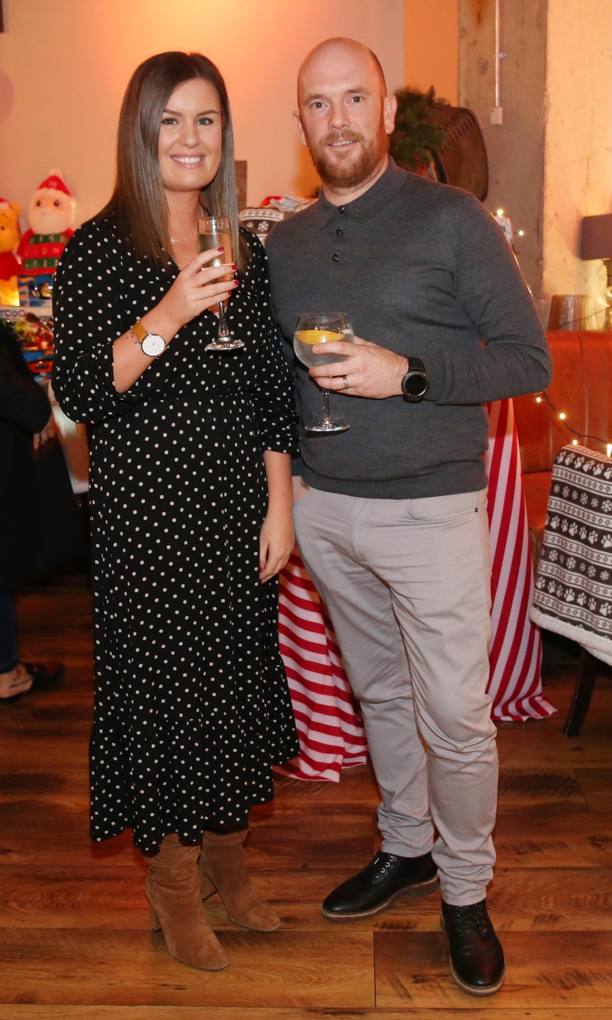 Ciaran Burns and Rachel Beresford pictured at the Aldi Amazing Christmas Showcase 2019. Photograph: Leon Farrell / Photocall Ireland