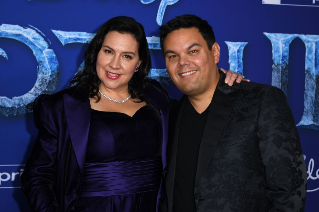 "Songwriters Kristen Anderson-Lopez (L) and Robert Lopez arrive for Disney's World Premiere of ""Frozen 2"" at the Dolby theatre in Hollywood on November 7, 2019. (Photo by VALERIE MACON/AFP via Getty Images)"