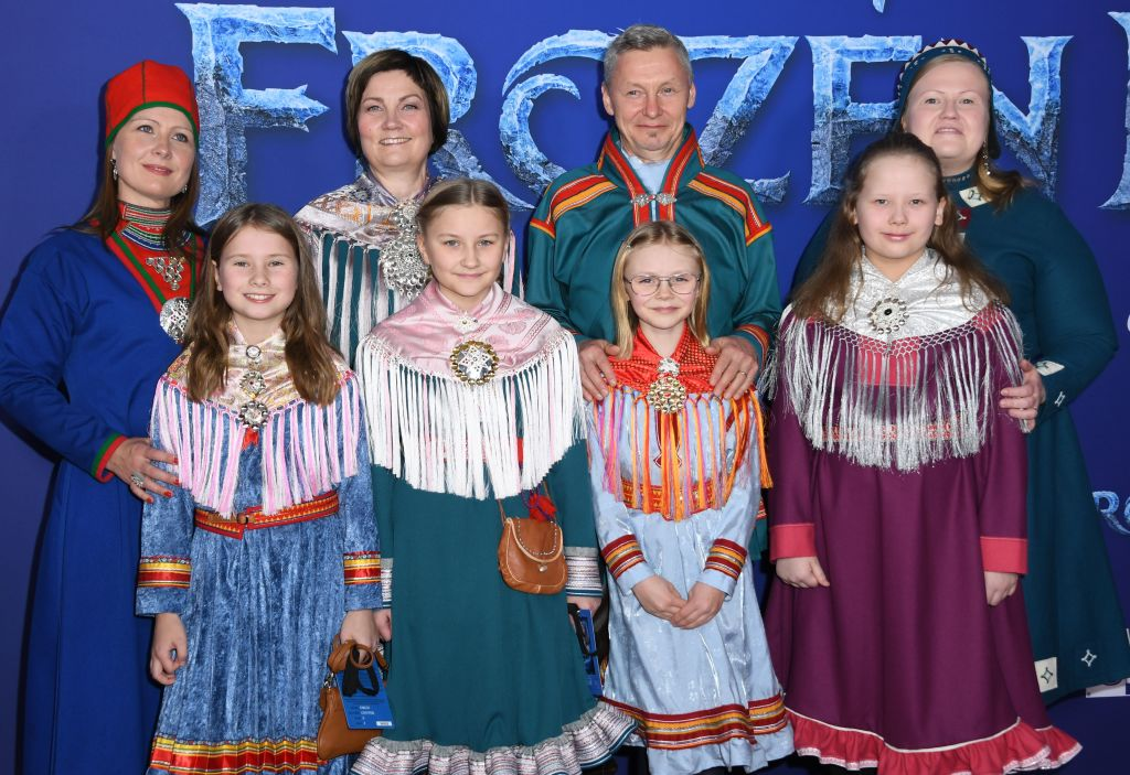 "Musical artist and president of the Sami Parliament of Finland Per Olof Nutti and family arrive for Disney's World Premiere of ""Frozen 2"" at the Dolby theatre in Hollywood on November 7, 2019. (Photo by VALERIE MACON/AFP via Getty Images)"