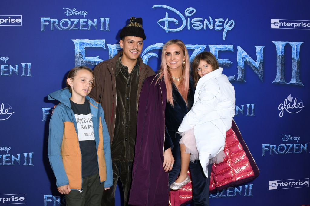 "US singer Ashlee Simpson (2ndR), husband US actor Evan Ross (2ndL), daughter Jagger Snow Ross and Simpson's son Bronx Wentz arrive for Disney's World Premiere of ""Frozen 2"" at the Dolby theatre in Hollywood on November 7, 2019. (Photo by VALERIE MACON/AFP via Getty Images)"