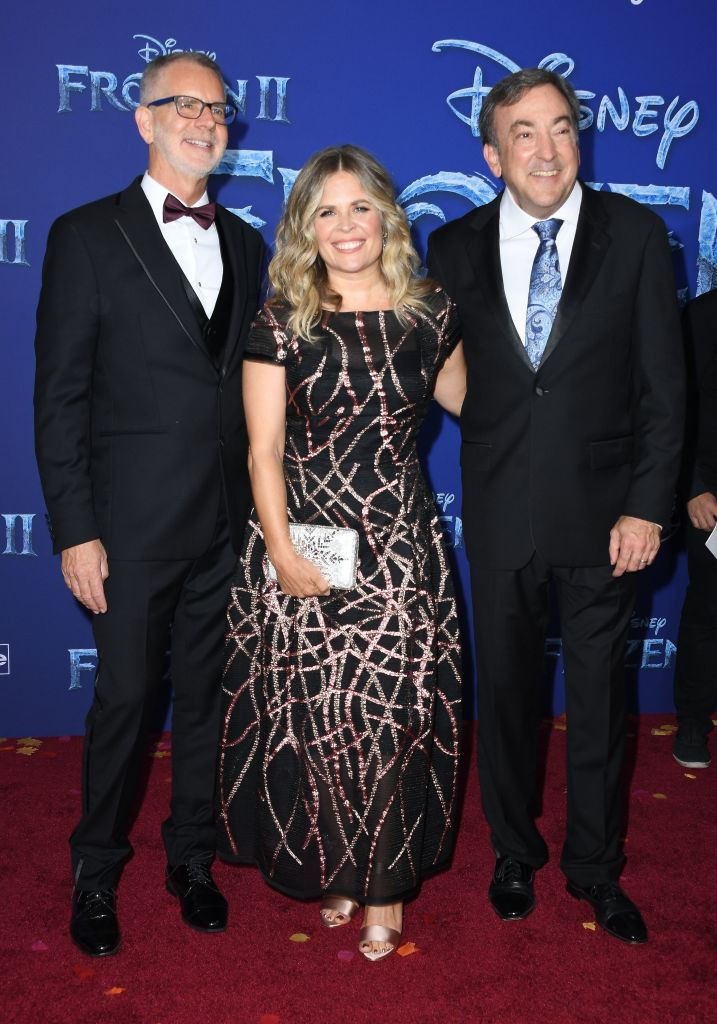 "(L-R) Director Chris Buck, writer Jennifer Lee and producer Peter Del Vecho arrive for Disney's World Premiere of ""Frozen 2"" at the Dolby theatre in Hollywood on November 7, 2019.  (Photo by VALERIE MACON/AFP via Getty Images)"