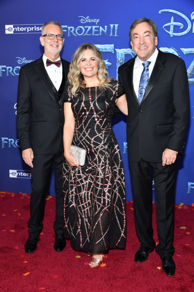 "(L-R) Chris Buck, Jennifer Lee, Chief creative officer of Walt Disney Animation Studios and Peter Del Vecho attend the premiere of Disney's ""Frozen 2"" at Dolby Theatre on November 07, 2019 in Hollywood, California. (Photo by Amy Sussman/Getty Images)"