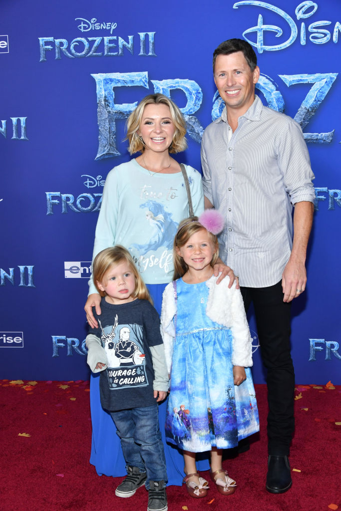 "Beverley Mitchell, Michael Cameron, Hutton Michael Cameron and Kenzie Cameron attend the premiere of Disney's ""Frozen 2"" at Dolby Theatre on November 07, 2019 in Hollywood, California. (Photo by Amy Sussman/Getty Images)"