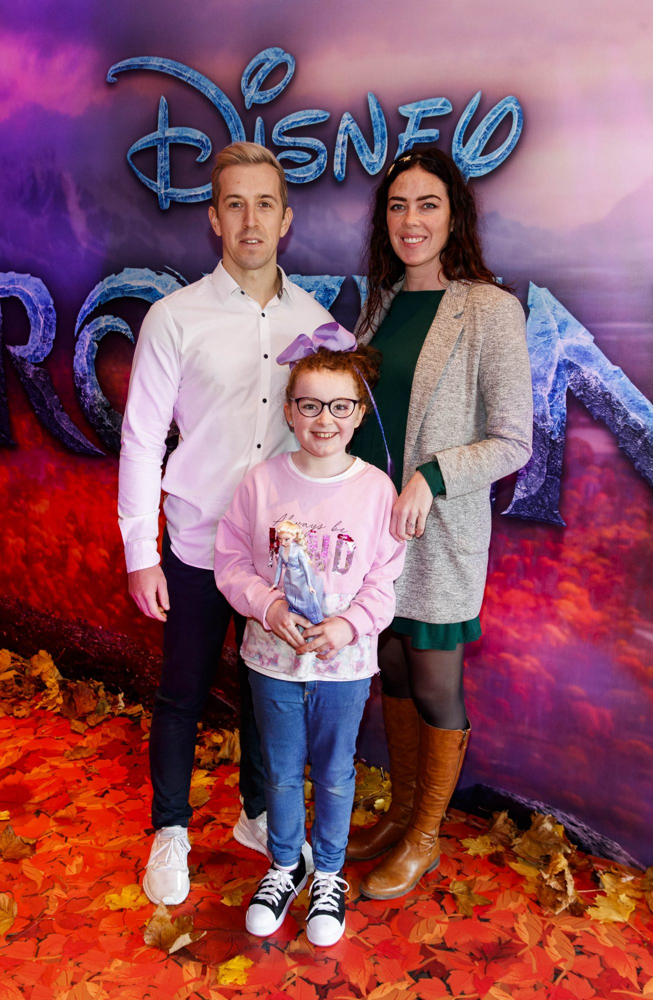"""Luke O'Faolain with Edie(9) and Sandra Kirrane pictured at the special preview screening of Disney's """"Frozen 2"""" at the Light House Cinema, Dublin.  Picture Andres Poveda"""