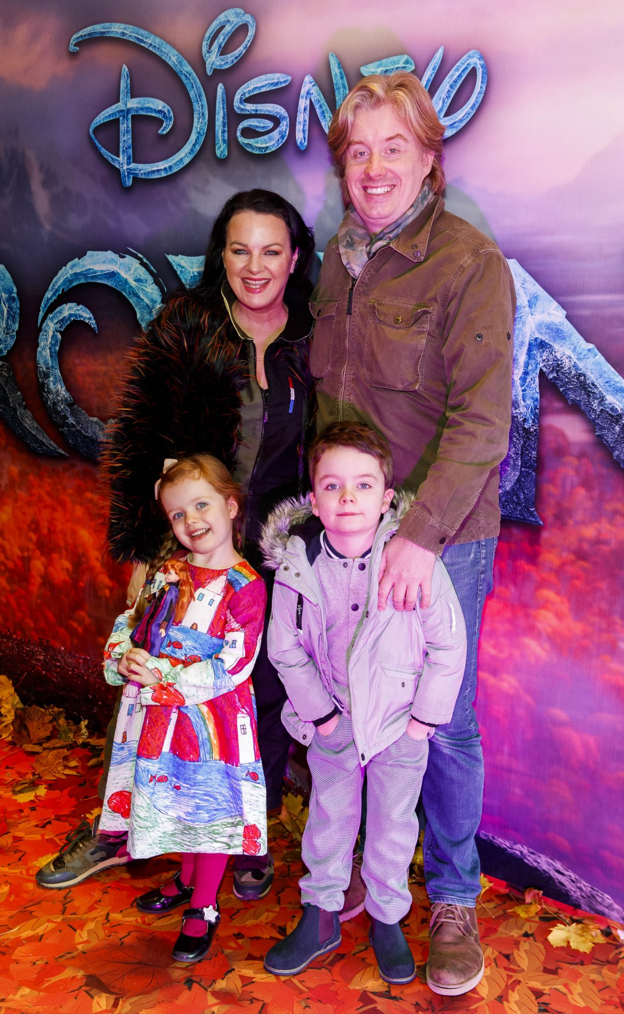 """Triona McCarthy with husband William White and children Mini and Max pictured at the special preview screening of Disney's """"Frozen 2"""" at the Light House Cinema, Dublin.  Picture Andres Poveda"""