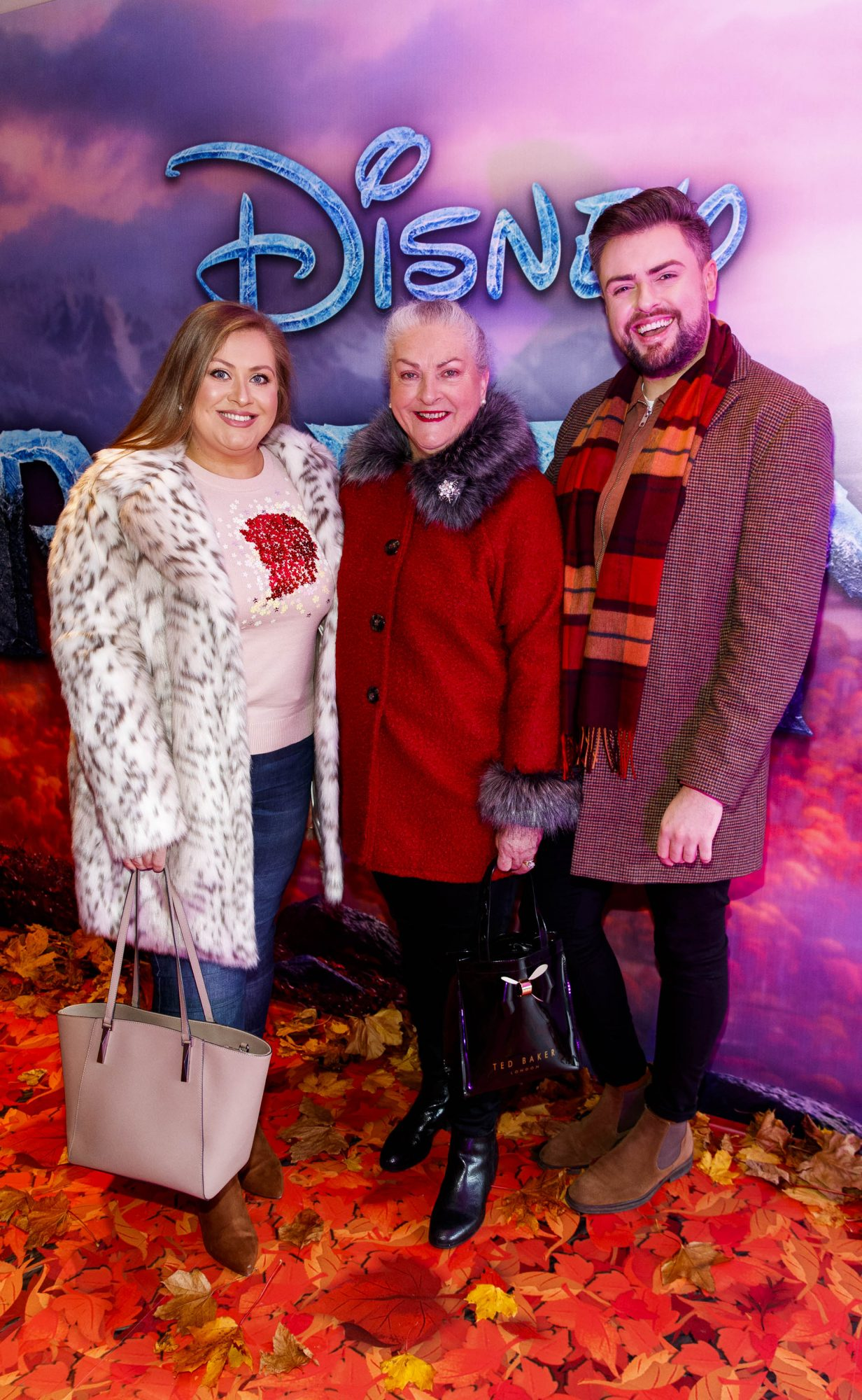 """Vanessa and Fron Butler and James Patrice pictured at the special preview screening of Disney's """"Frozen 2"""" at the Light House Cinema, Dublin.  Picture Andres Poveda"""