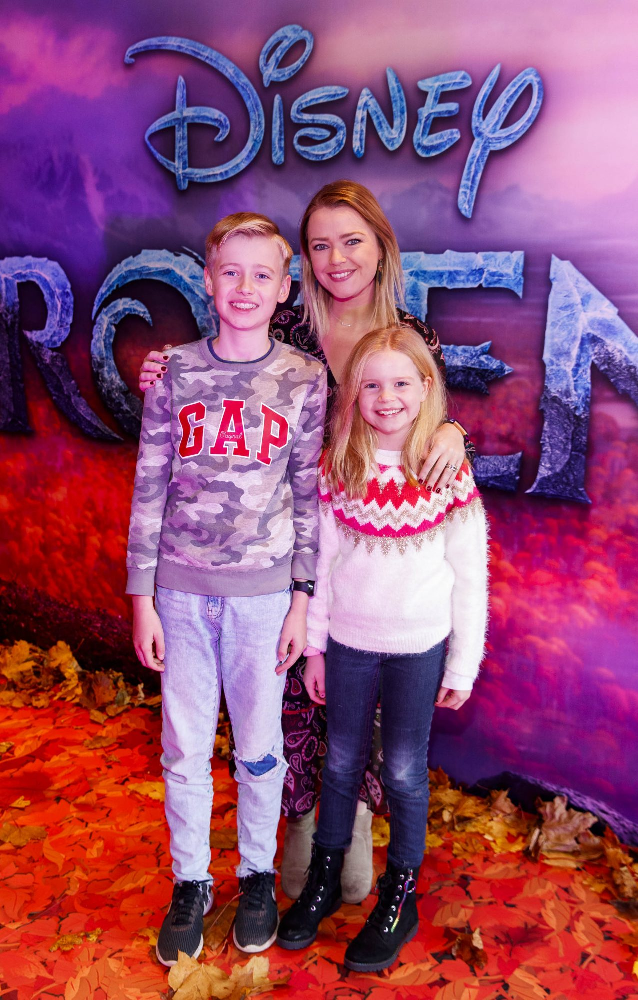 """Helen Curran with Conor (11) and Ella (9) pictured at the special preview screening of Disney's """"Frozen 2"""" at the Light House Cinema, Dublin.  Picture Andres Poveda"""