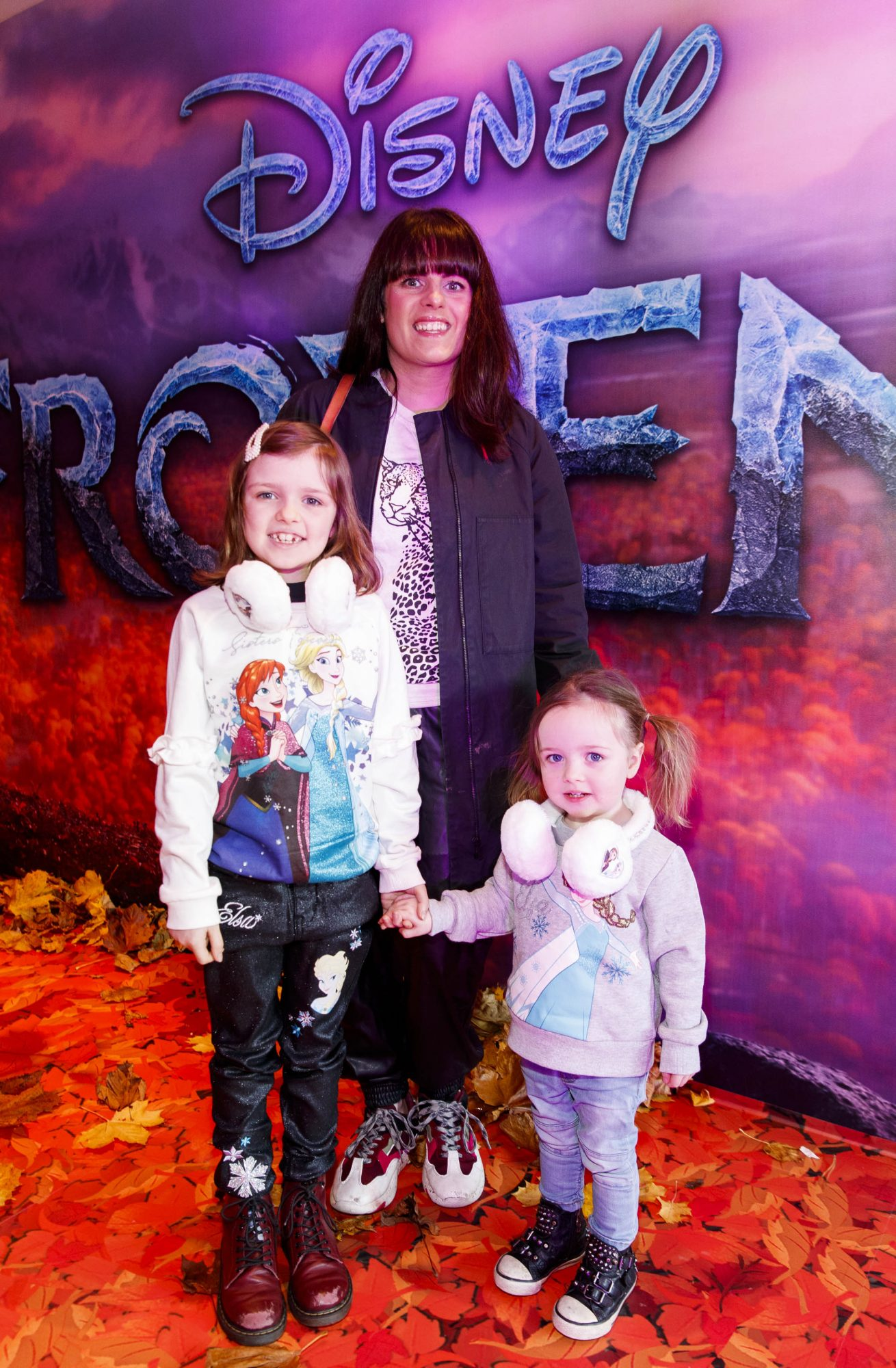"""Sooby Lynch with daughters Penny (7) and Marnie (2) pictured at the special preview screening of Disney's """"Frozen 2"""" at the Light House Cinema, Dublin.  Picture Andres Poveda"""