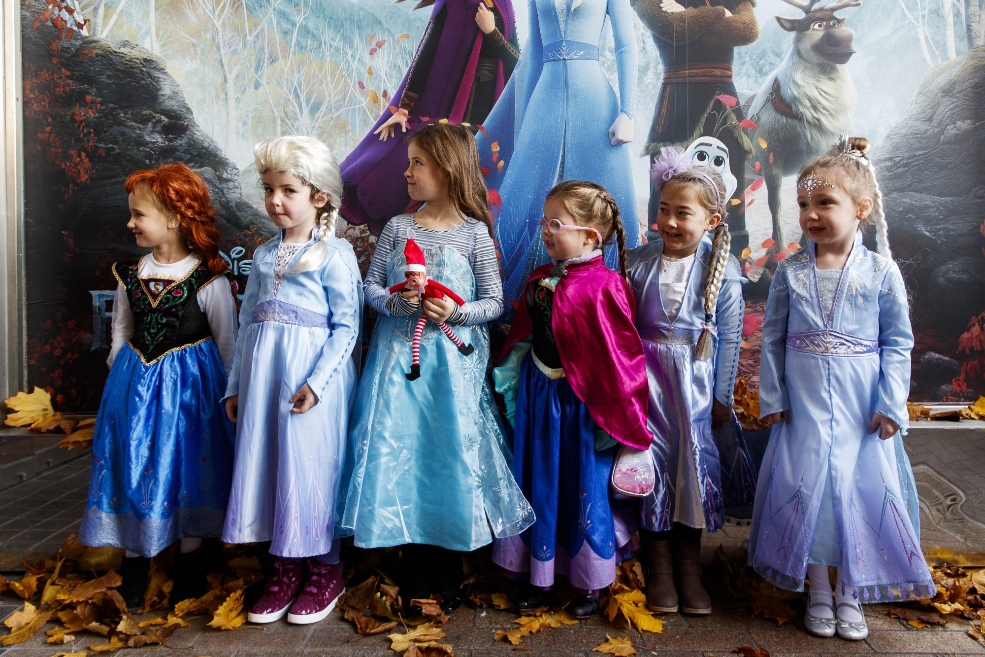 """Little Elsa's Alanah Foran (4), Keeelan Foley (5), Maddie Blake (6), Molly Younger (4), Mollie Smith (5), Lauren Rose McDonald (4), waiting patiently for the doors to open at the special preview screening of Disney's """"Frozen 2"""" at the Light House Cinema, Dublin.  Picture Andres Poveda"""