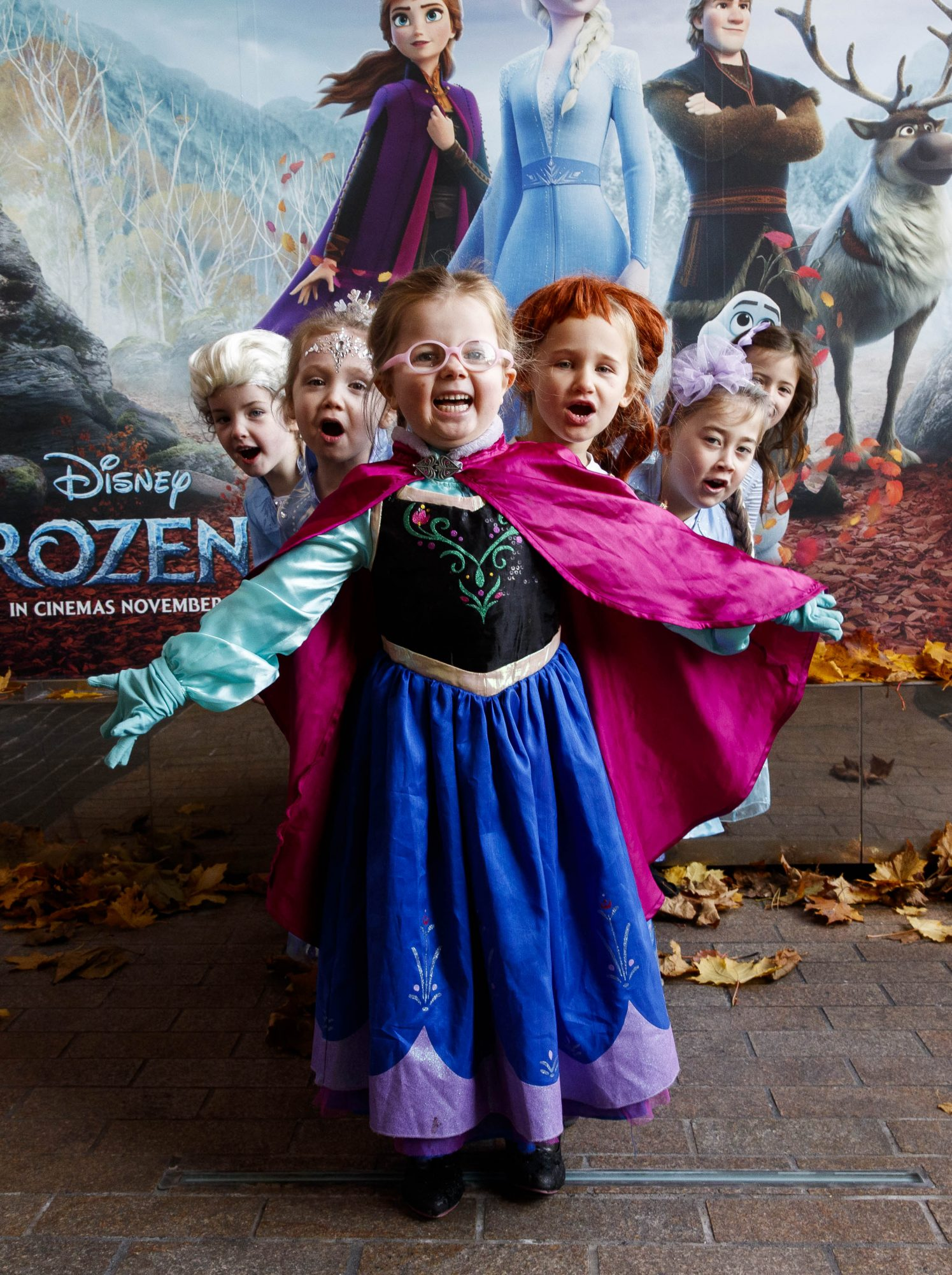 """Little Elsa's Molly Younger (4), Alanah Foran (4), Lauren Rose McDonald (4), Molly Smith (5) Keeelan Foley (5) Maddie Blake (6) waiting patiently for the doors to open at the special preview screening of Disney's """"Frozen 2"""" at the Light House Cinema, Dublin.  Picture Andres Poveda"""