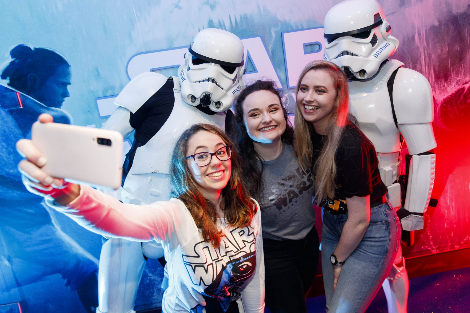 Bella Domingues, Megan Loughrey and Leigh Brady pictured at the Irish premiere screening of Star Wars: The Rise of Skywalker at Cineworld, Dublin. Picture: Andres Poveda