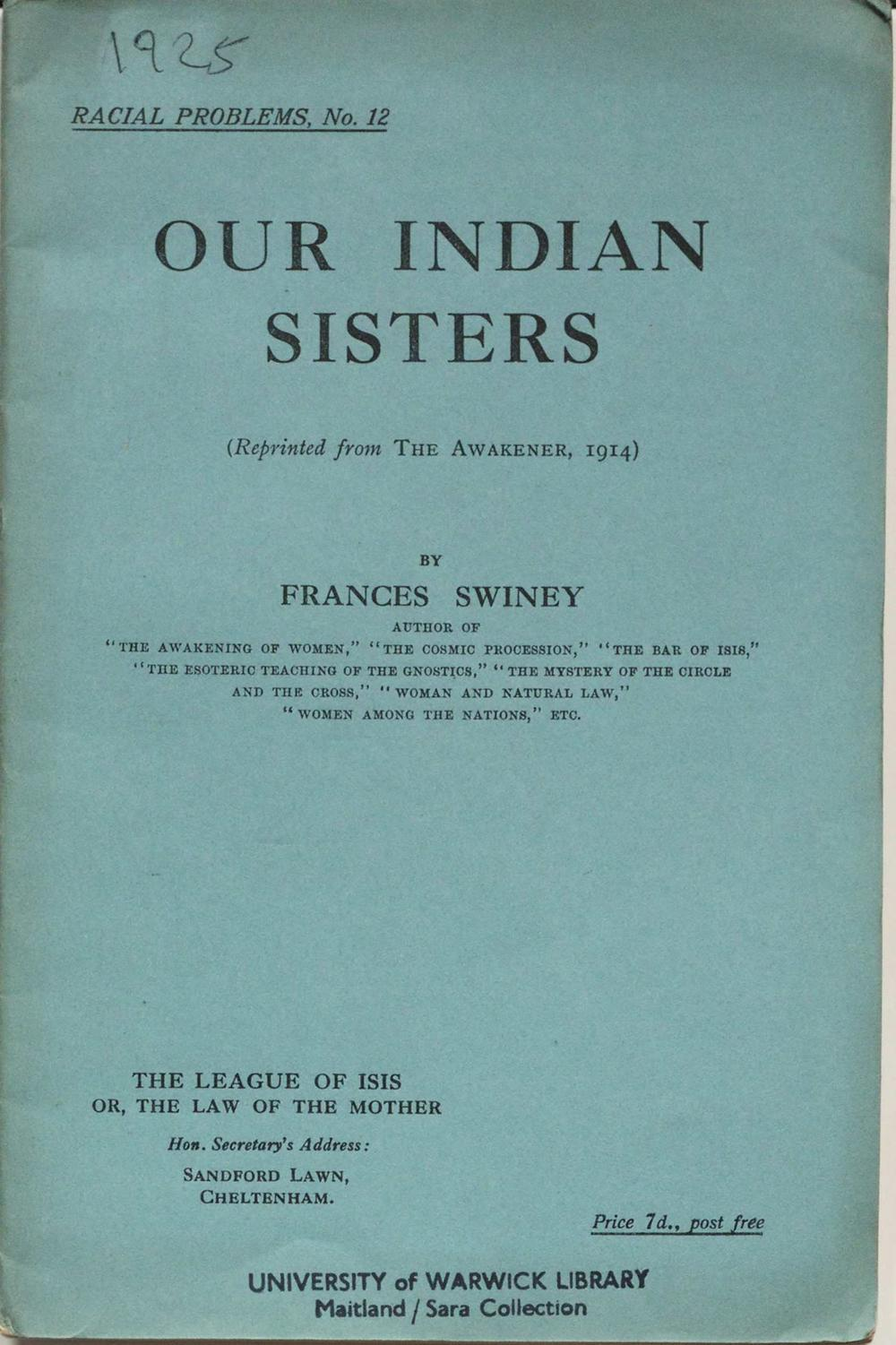Frances Swiney, \'Our Indian sisters\' - Epexio