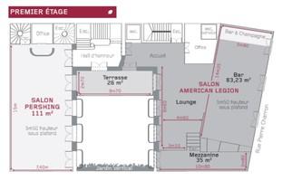 H%c3%b4tel pershing hall   plan des salles etage