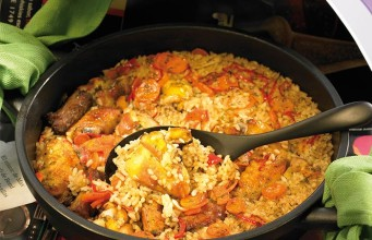 One Skillet Peppers, Sausage and Rice