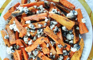 Sweet Potato Chips with Capers, Olives and Feta Cheese