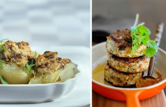 Turkey Burgers with Mushrooms, Fennel and a Yoghurt Mustard Dressing