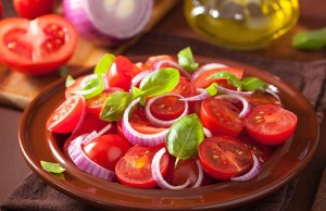 Fresh Tomato, Basil and Red Onion Salad