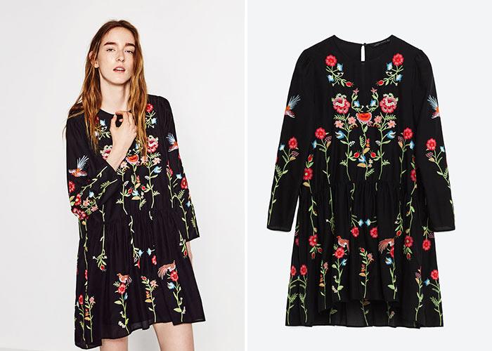 Платье зара черное с цветами распродажа зимних курток женских