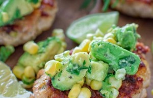 Healthy Chicken Burgers with a Corn and Avocado Salsa