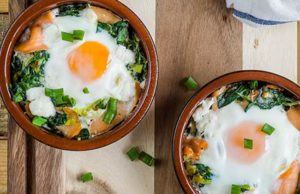 Baked Eggs with Irish Smoked Salmon Veggies and Goats Cheese