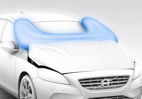 Voetgangers-airbag op de Volvo V40