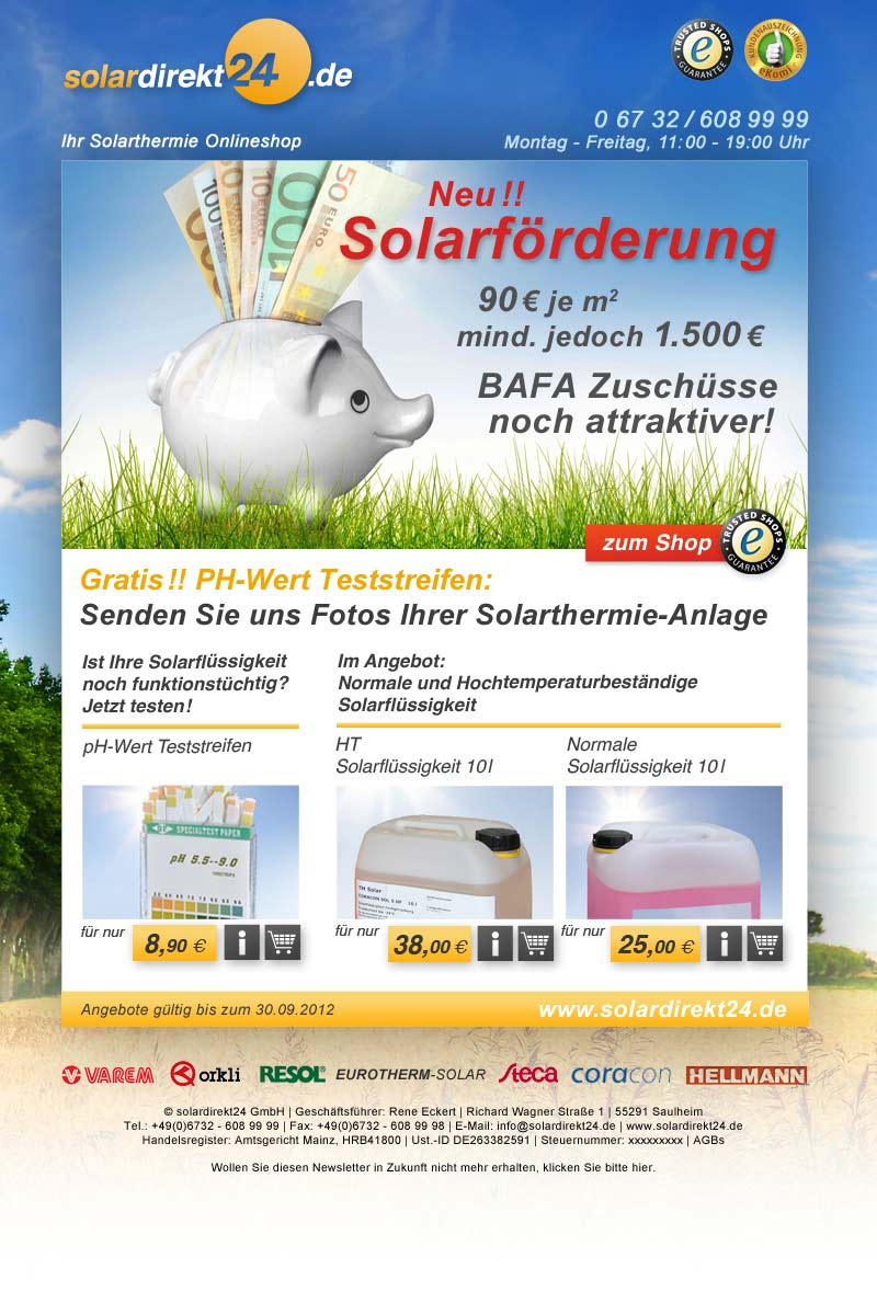 September- Newsletter von solardirekt24.de