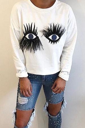 White Eyelash Detail Jumper
