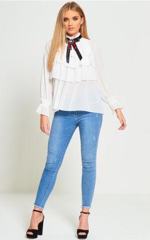 victorian style ruffle broach shirt