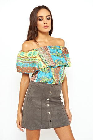 Gypsy Style Off The Shoulder Printed Top