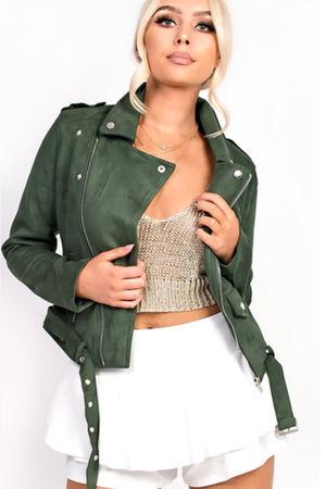 Faux Suede Green Biker Jacket