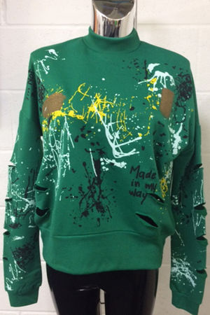 Emerald Green Distressed Splatter Jumper