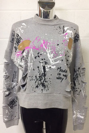 Light Grey Distressed Splatter Jumper