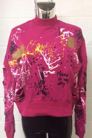Pink Distressed Splatter Jumper