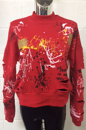 Red Distressed Splatter Jumper