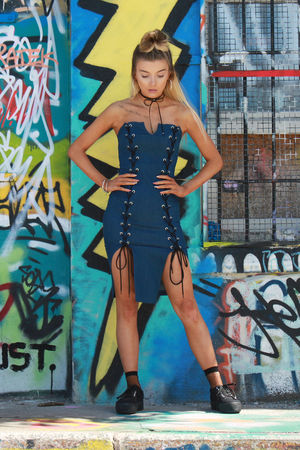 Cara Dark Denim Lace Up Bodycon Dress