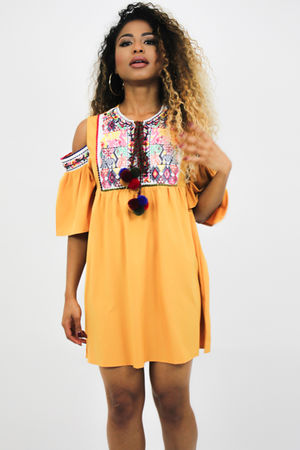 Mustard Embroidered Pom Pom Dress