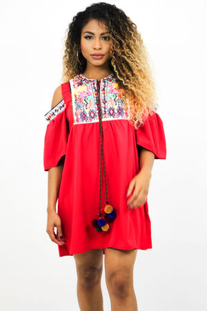 Red Embroidered Pom Pom Dress
