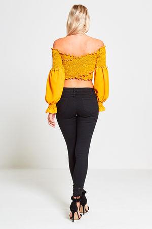 Yellow Cross Front Bardot Top