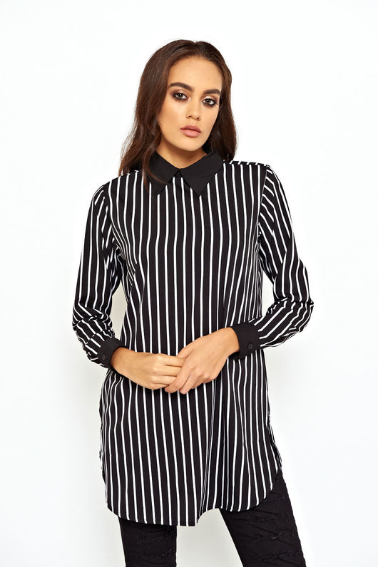 Striped Collared Shirt Top