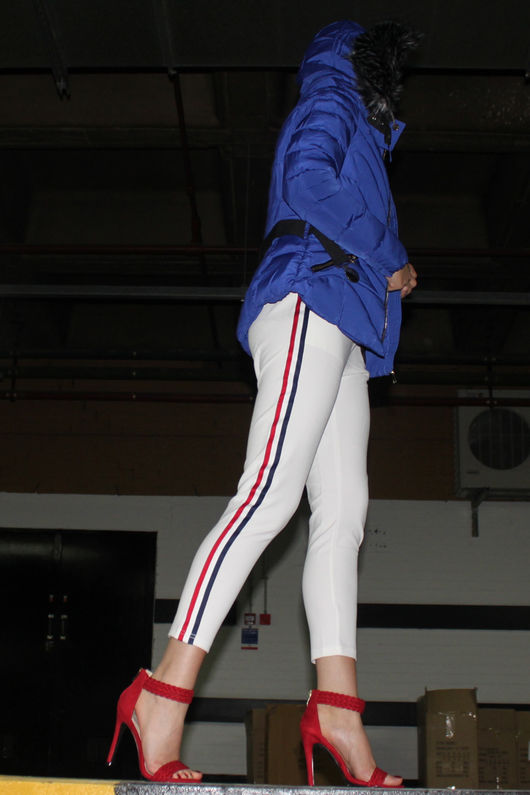 White Stripe Panel Trousers
